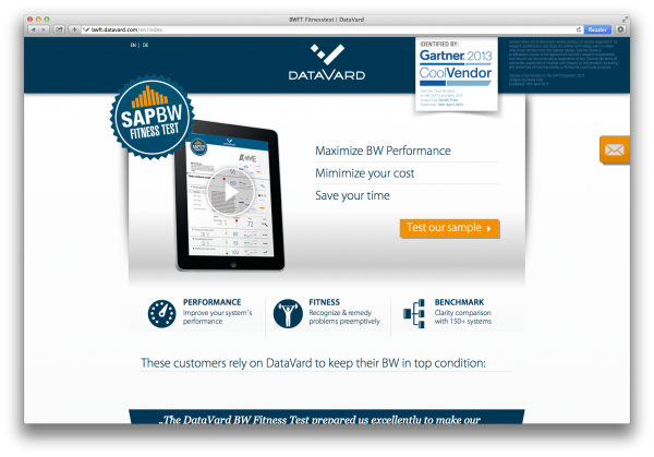 DataVard BW Fitnesss Test Landing Page